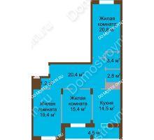 3 комнатная квартира 102,4 м² в ЖК Монолит, дом № 89, корп. 1, 2 - планировка