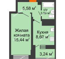 1 комнатная квартира 35,23 м² в ЖК Встреча, дом № 1 - планировка
