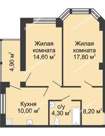 2 комнатная квартира 59,8 м² в ЖК Мега, дом № 2