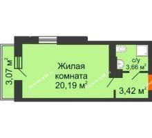 Студия 27,5 м², ЖК Открытие - планировка