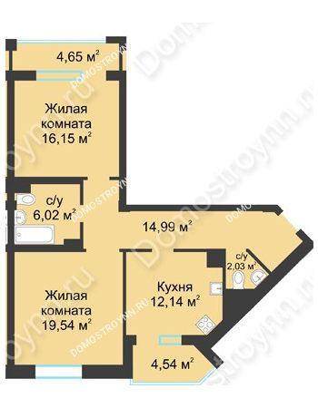 2 комнатная квартира 75,46 м² в ЖК Воскресенская слобода, дом №1