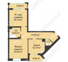 2 комнатная квартира 75,46 м² в ЖК Воскресенская слобода, дом №1 - планировка