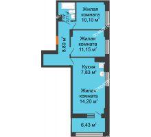 3 комнатная квартира 59,01 м² - ЖК Каскад на Сусловой