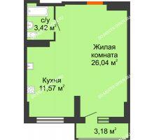 Студия 42,62 м², ЖК Орбита - планировка