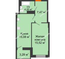 1 комнатная квартира 43,91 м² в ЖК Аврора, дом № 2 - планировка