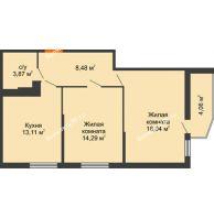 2 комнатная квартира 59,53 м² в ЖК Семейный парк, дом Литер 2 - планировка