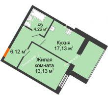 1 комнатная квартира 40,64 м² в ЖК Бунина парк, дом 3 этап, блок-секция 3 С - планировка