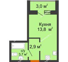 Студия 21,9 м² в ЖК Самолет 2, дом Литер 3 - планировка