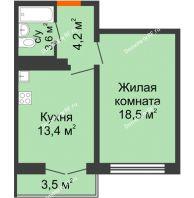 1 комнатная квартира 40,9 м² в ЖК Задонье, дом Позиция 2 - планировка