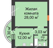 1 комнатная квартира 51,38 м², ЖК На Владимирской - планировка