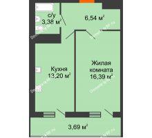 1 комнатная квартира 43,2 м² в ЖК Фамилия, дом Литер 1 - планировка