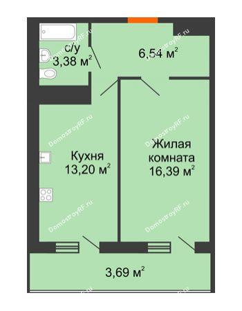 1 комнатная квартира 43,2 м² в ЖК Фамилия, дом Литер 1