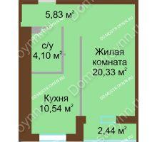1 комнатная квартира 42,02 м² в ЖК Солнечный, дом № 3 - планировка