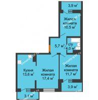 3 комнатная квартира 62,9 м² в ЖК Грани, дом Литер 4 - планировка