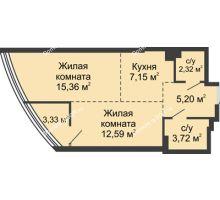 2 комнатная квартира 49,67 м², ЖК Белый Ангел - планировка