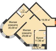 2 комнатная квартира 100,5 м², ЖК На Владимирской - планировка