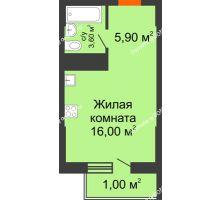 Студия 26,5 м², ЖК Клубный дом на Мечникова - планировка
