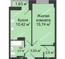 1 комнатная квартира 36 м² в ЖК Сердце Ростова, дом Этап II