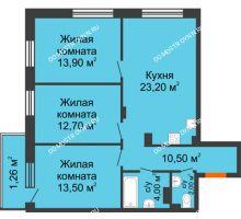 3 комнатная квартира 77,66 м² в ЖК Заречье, дом № 7 - планировка