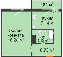 1 комнатная квартира 36,08 м² в ЖК Торпедо, дом № 19 - планировка