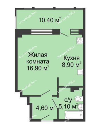 1 комнатная квартира 45,9 м² в ЖК Мега, дом № 2