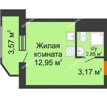 Студия 22,34 м² в ЖК Москва Град, дом 60/2 - планировка