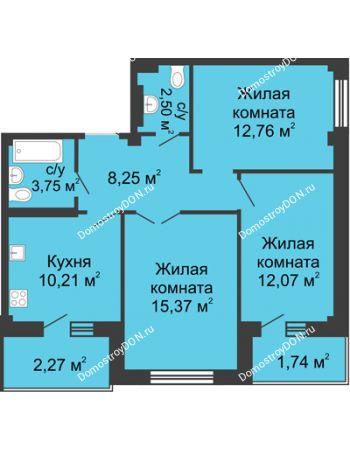 3 комнатная квартира 70,7 м² в ЖК Соловьиная роща, дом № 2