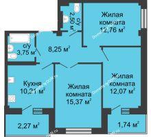 3 комнатная квартира 66,52 м² в ЖК Соловьиная роща, дом № 3 - планировка