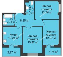 3 комнатная квартира 70,58 м² в ЖК Соловьиная роща, дом № 7 - планировка