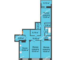 3 комнатная квартира 113,92 м², ЖК Волна - планировка