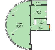 1 комнатная квартира 113,1 м², ЖК 311 - планировка