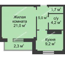 1 комнатная квартира 43,4 м² в ЖК На Победной, дом № 3