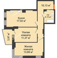 2 комнатная квартира 58,3 м² в ЖК Сердце Ростова 2, дом Литер 8 - планировка