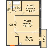2 комнатная квартира 62,87 м² в ЖК Бограда 109, дом № 2 - планировка