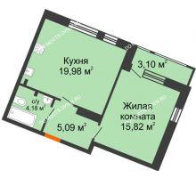 1 комнатная квартира 48,17 м² в ЖК Книги, дом № 1 - планировка