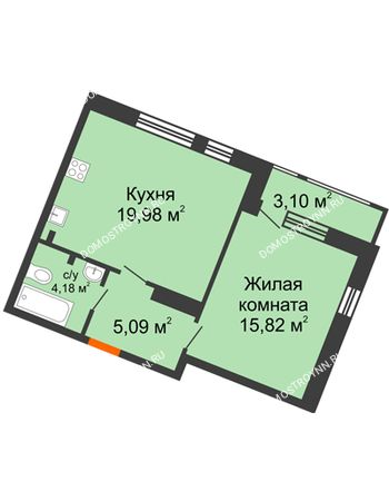 1 комнатная квартира 48,17 м² в ЖК Книги, дом № 2
