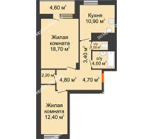 2 комнатная квартира 64,9 м² в ЖК Корица, дом № 1 - планировка