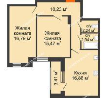 2 комнатная квартира 67,94 м² в ЖК Москва Град, дом 60/1 - планировка