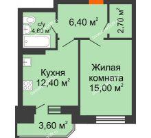 1 комнатная квартира 44,7 м² в ЖК Звездный-2, дом № 3 - планировка