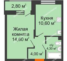 1 комнатная квартира 34,9 м² в ЖК Цветы 2, дом № 4 - планировка