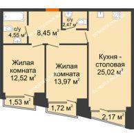 2 комнатная квартира 68,61 м², Клубный дом на Ярославской - планировка