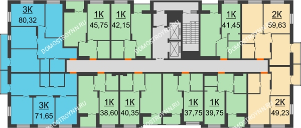 Планировка 2 этажа в доме № 1, секция 1 в ЖК Заречье