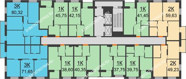 Планировка 2 этажа в доме №1, секция 2 в ЖК Заречье