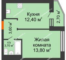 1 комнатная квартира 34,9 м² в ЖК 5 Элемент - Монолит (Пятый Элемент), дом Корпус 5-7 - планировка