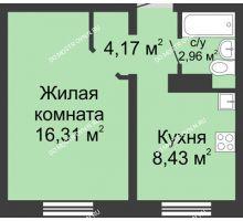 1 комнатная квартира 31,87 м² в ЖК Бурнаковский, дом № 39