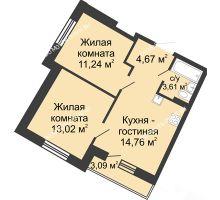 2 комнатная квартира 48,23 м² в ЖК Ватсон, дом № 4 - планировка