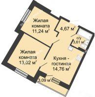 2 комнатная квартира 48,08 м² в ЖК Ватсон, дом № 5 - планировка