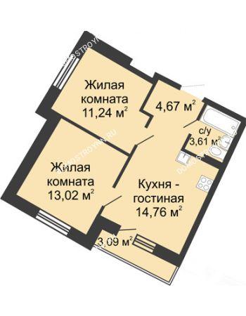 2 комнатная квартира 48,08 м² в ЖК Ватсон, дом № 5