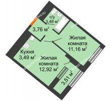 1 комнатная квартира 36,57 м² в ЖК Дом на Набережной, дом № 1 - планировка