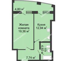 1 комнатная квартира 54,56 м² в ЖК Тихий Дон, дом № 3 - планировка
